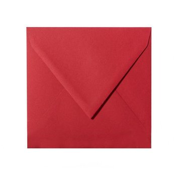 Square envelopes 4,92 x 4,92 in rose red with triangular...