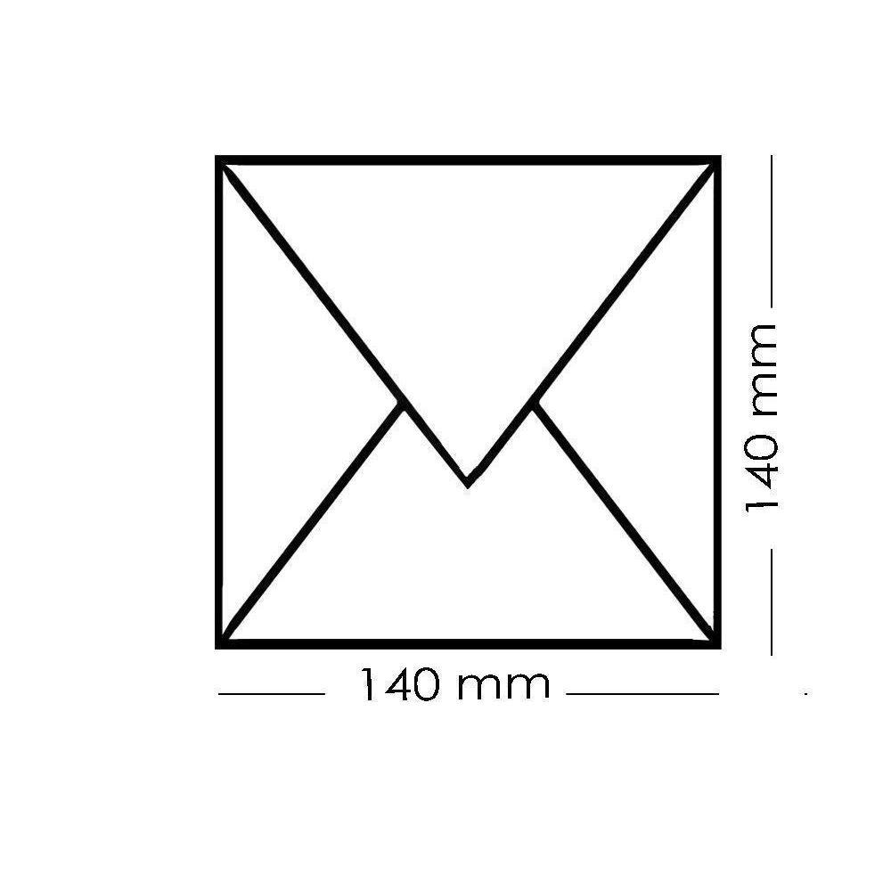 Gold nassklebend 100 Quadratische Umschläge 140 x140 mm