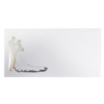 Envelopes with lining in white DIN long - wedding bride...