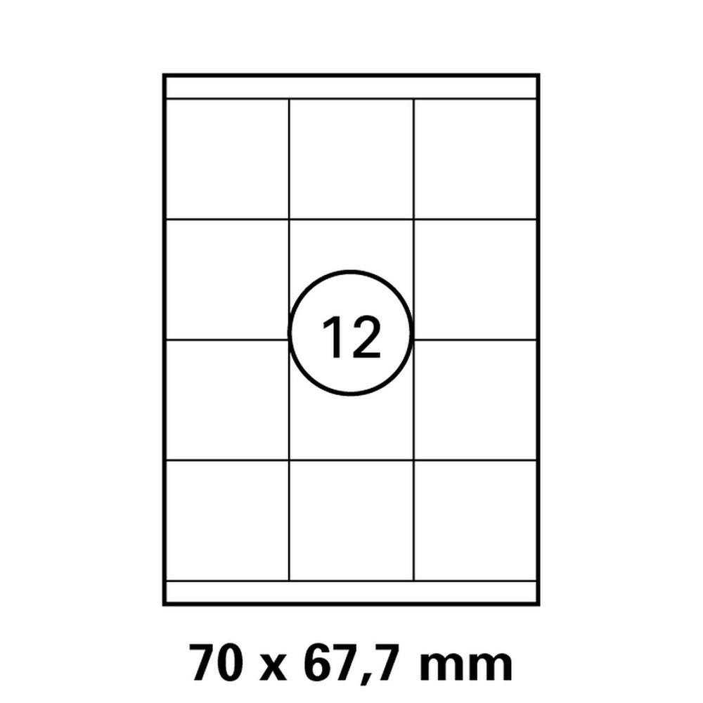 1 Pack mit je 1200 Laser Copy Inkjet Etiketten 70 x 67,7 mm