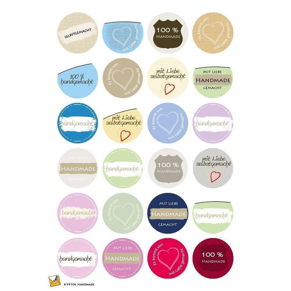 24 Etiketten Sticker Aufkleber Selbstgemacht Handmade 40 Mm Selbstklebend 99106