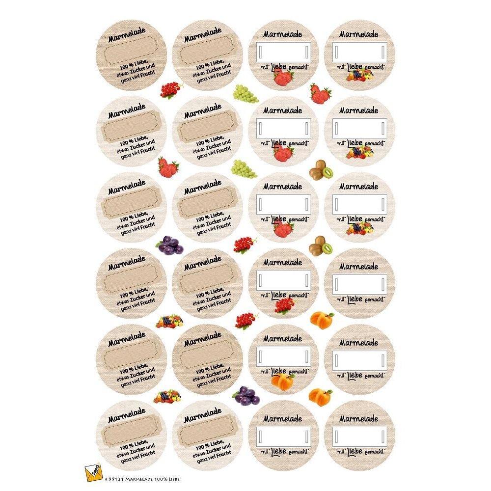 24 Etiketten Sticker Aufkleber Für Marmelade Gelee Konfitüre 40 Mm Selbstklebend 99121
