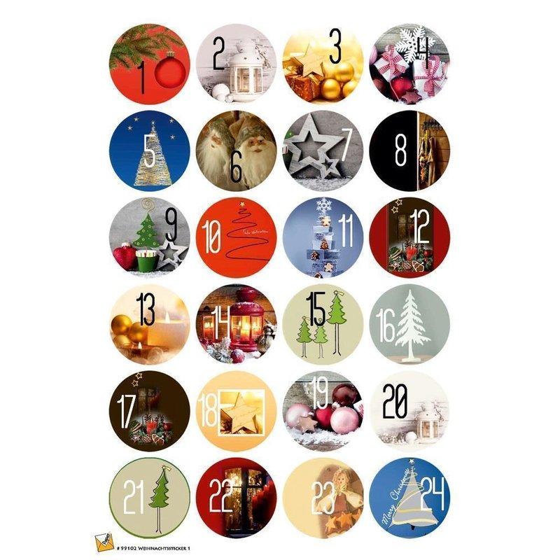 24 Etiketten Sticker Weihnachten Kalender 40 Mm Selbstklebend 99102
