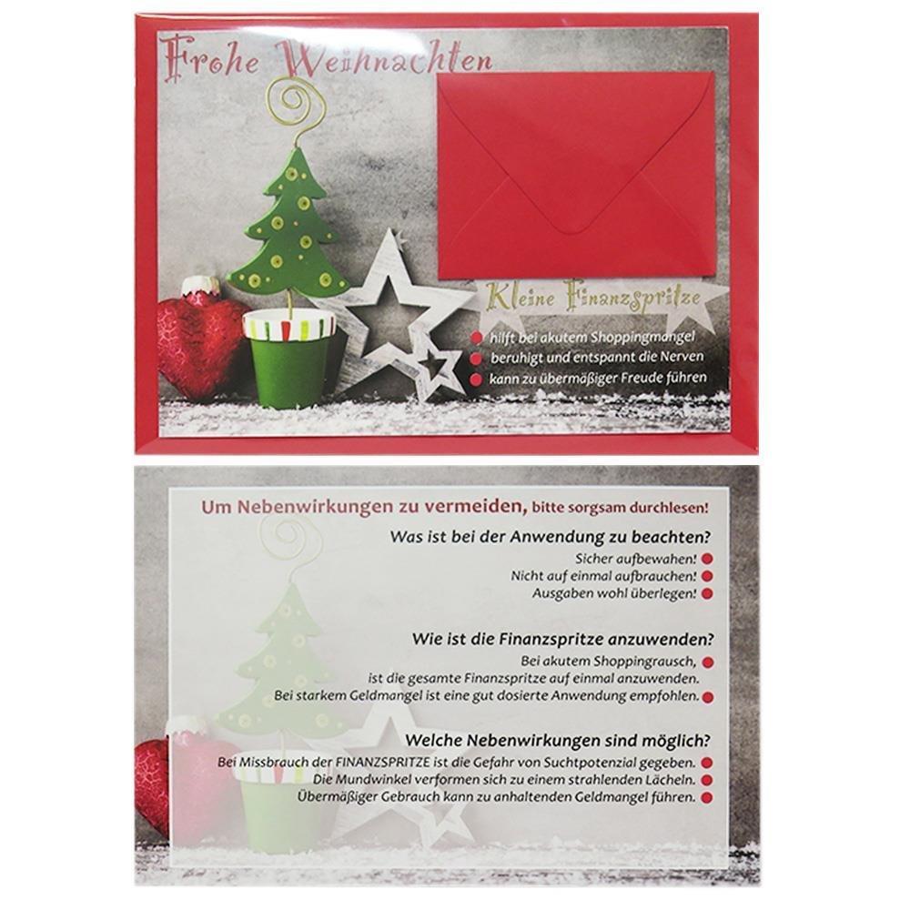 1 Geldgeschenkkarte Weihnachten Mit Miniumschlag In Rot Inkl Rotem C6 Umschlag Mit Spitzer Klappe