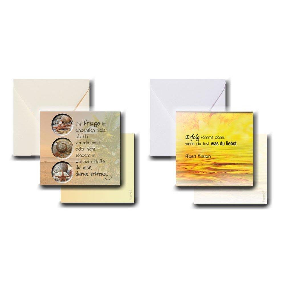 2er Karten-Set 300g im Miniformat 78 x78 mm mit Briefumschlag Set 1