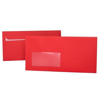 Envelopes DIN long with window 4,33 x 8,66 in red