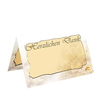 folded card acknowledgement  for wedding KK52  golden...